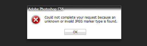 Could not complete your request because an unknown or invalid JPEG marker type is found